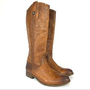 Frye leather Melissa Button 2 distressed tall boot